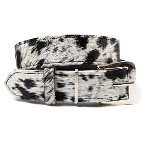 Zulucow Nguni cowhide leather belt white and black speckle belt buckle cowhide accessories black white womenswear fashion