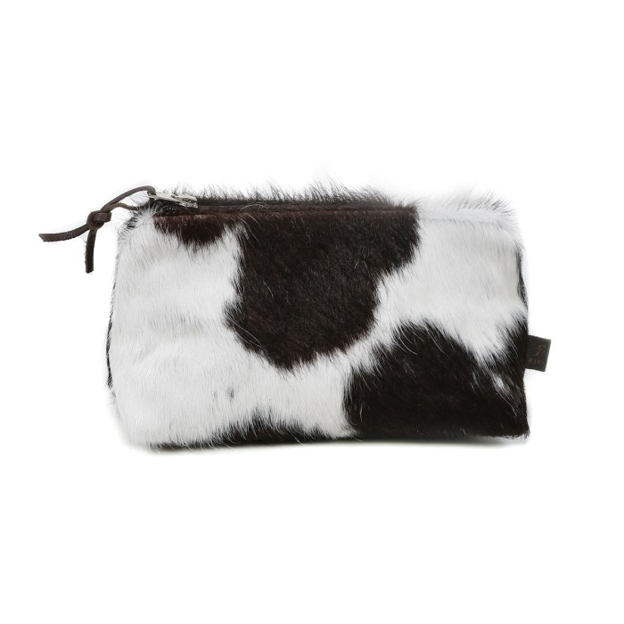 cowhide clutch, cosmetic bag, make up bag, cowhide purse, handmade, artisan made, cowhide cosmetic bag, slow fashion, ethical fashion, sustainable fashion, christmas gifts, presents, leather bag