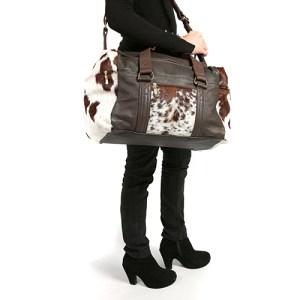 Zulucow Nguni cowhide leather weekend bag brown and white travel bag travel accessories holdall luggage