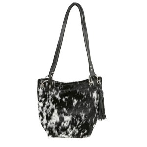 Zulucow cowhide leather slouch shoulder bag black & white fashion accessories leather bags accessories handbags