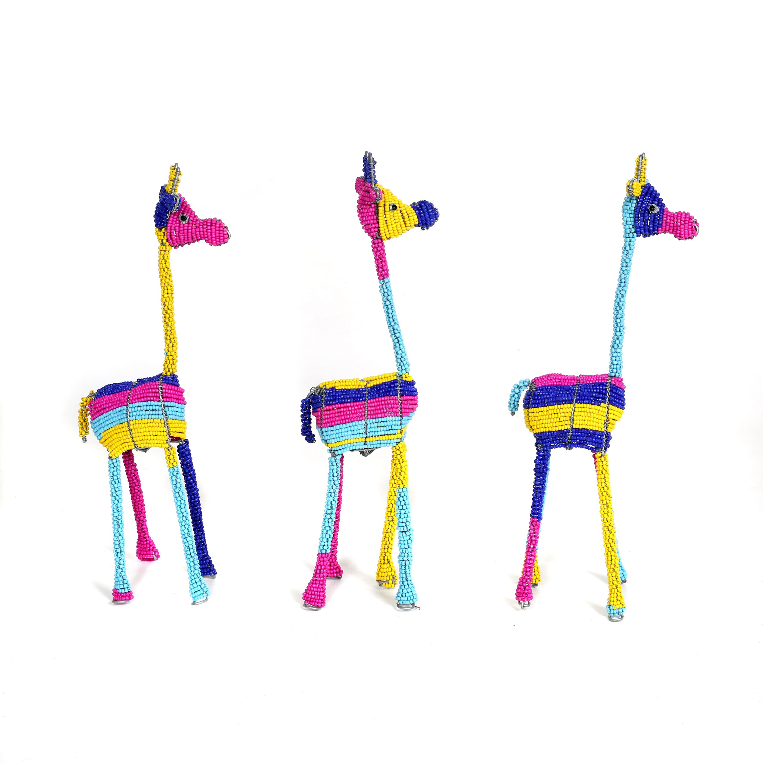 gorgeous colourful beaded giraffes, beaded sculptures, beaded art, gifts, childrens' gifts