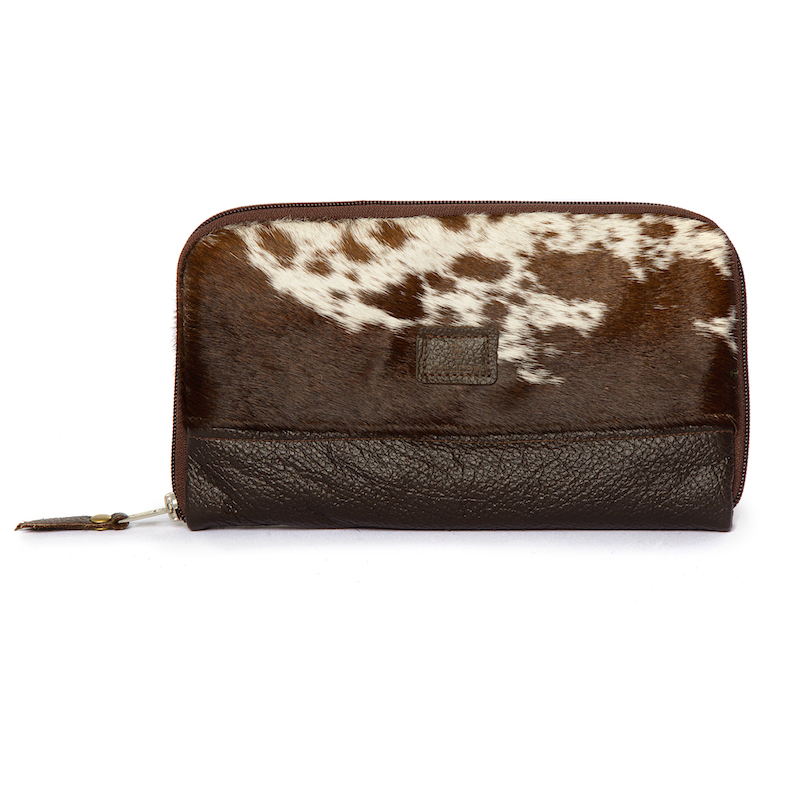 cowhide bag, travel wallet, clutch, clutch bag, brown & white, leather bag, cowhide accessories, fashion accessories