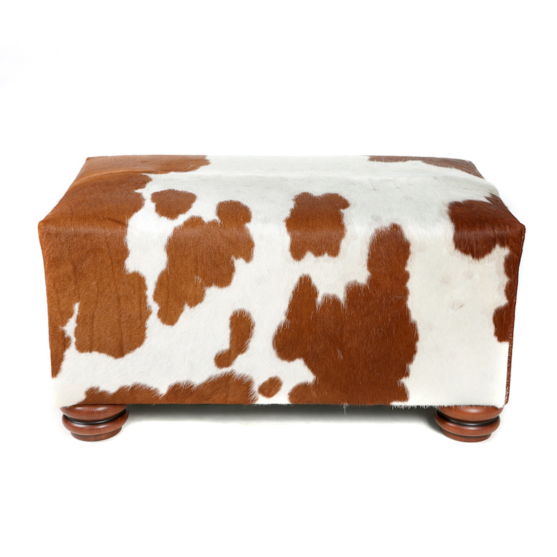 cowhide ottoman, cowhide furniture, cowhide footstool, Nguni, interiors, custom made bespoke cowhide furniture, luxury interiors, interior design