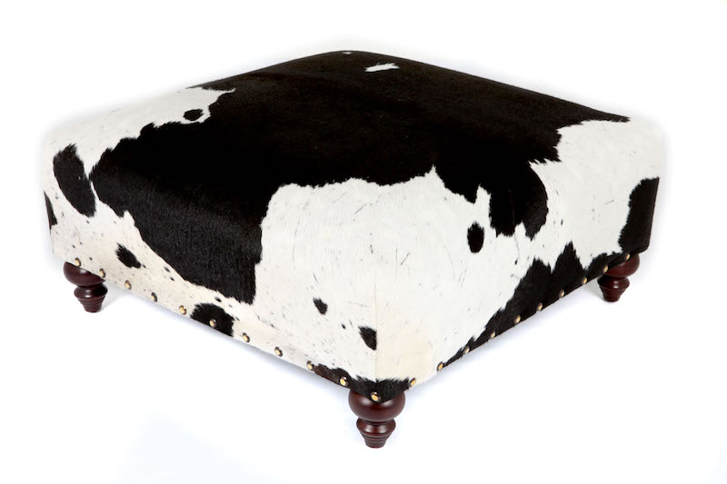 cowhide ottoman, cowhide footstool, bespoke furniture, sustainably sourced furniture, luxury interiors, interior design, Nguni