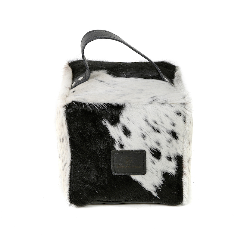 Zulucow Nguni ethically and sustainably sourced cowhide door stop, black and white door stop, interiors, home accessories, christmas unisex presents