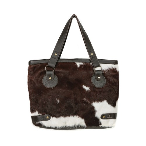 cowhide bag leather handbag tote bag brown & white fashion accessories bags womenswear, sustainable bag, ethically made, social impact