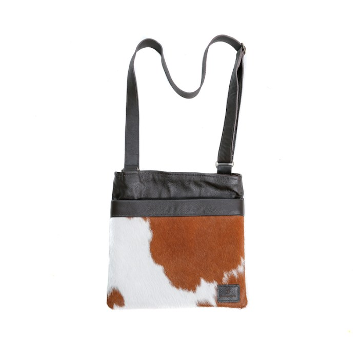 bags-leather-messenger-bags-crossbody bags, cowhide-bags -brown and white, leather bags, fashion accessories, women's accessories, handmade bags, artisan made, socially conscious brand, sustainable fashion