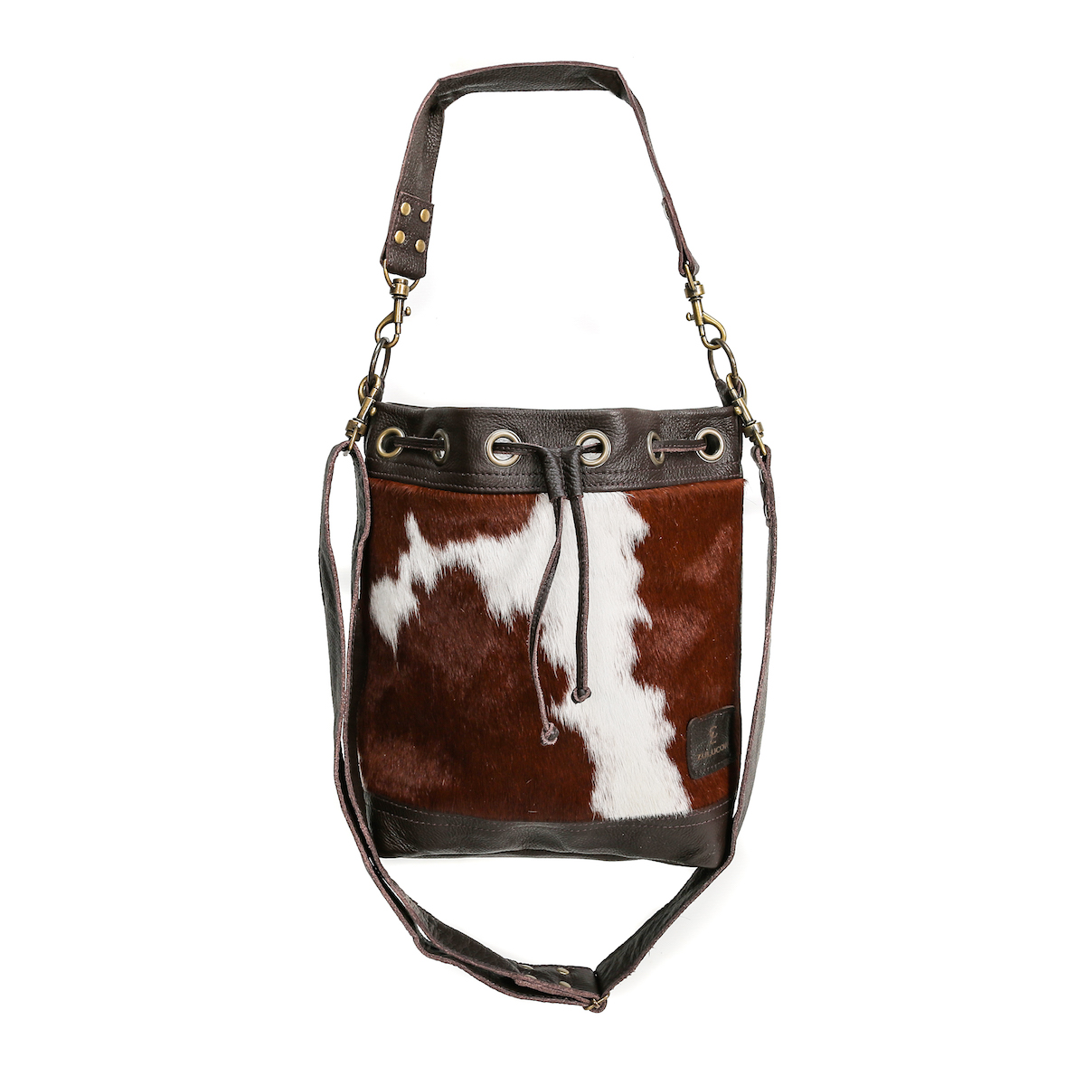 bags-leather-bucket-bags-cowhide-bags-brown and white, leather bags, fashion accessories, women's accessories, sustainable leather, handmade, ethical fashion