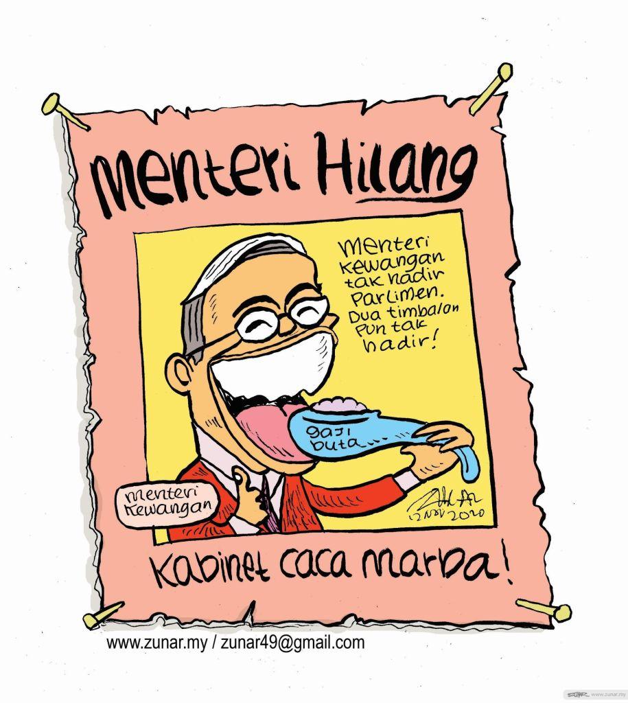 WEB Cartoonkini MENTERI HILANG 12 Nov 2020 (Custom)