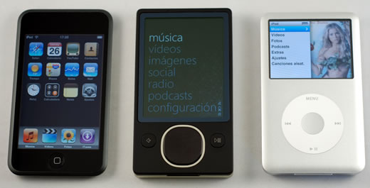 Zune, iPod classic y iPod touch