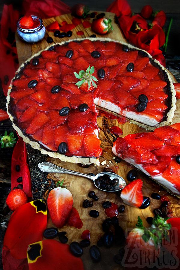 Erdbeertarte mit weier Kaffeemousse  Zungenzirkus