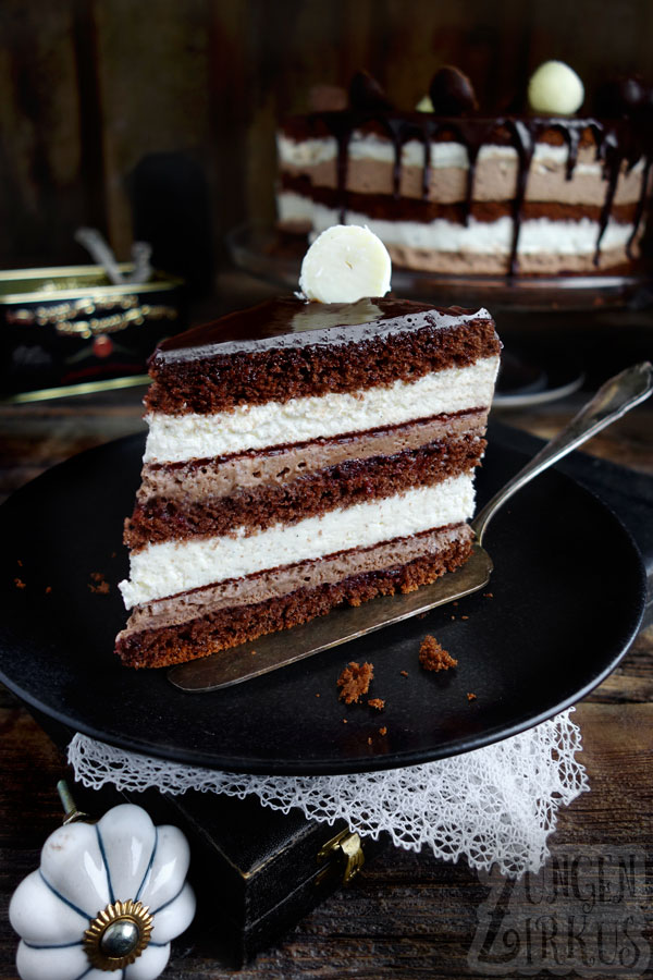 SchokoVanilletorte  Drip cake mit Schoko  Zungenzirkus