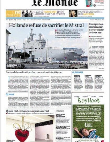 Le Monde Jeudi 24 Juillet 2014