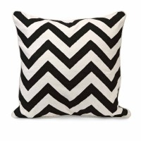 Chevron Black and White Embroidered Pillow   Zuri Furniture