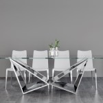 Serra 94 Inch Dining Table In Clear Glass With Polished Stainless Steel Base Zuri Furniture