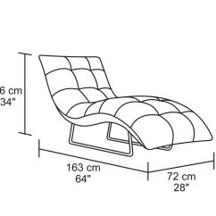 Lounge Chair Dimensions Swinging Chairs Outdoor Ace Leather And Chrome Chaise Black Zuri Furniture