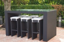 Ambrosia Outdoor High Top Glass Bar Table And Six Stools