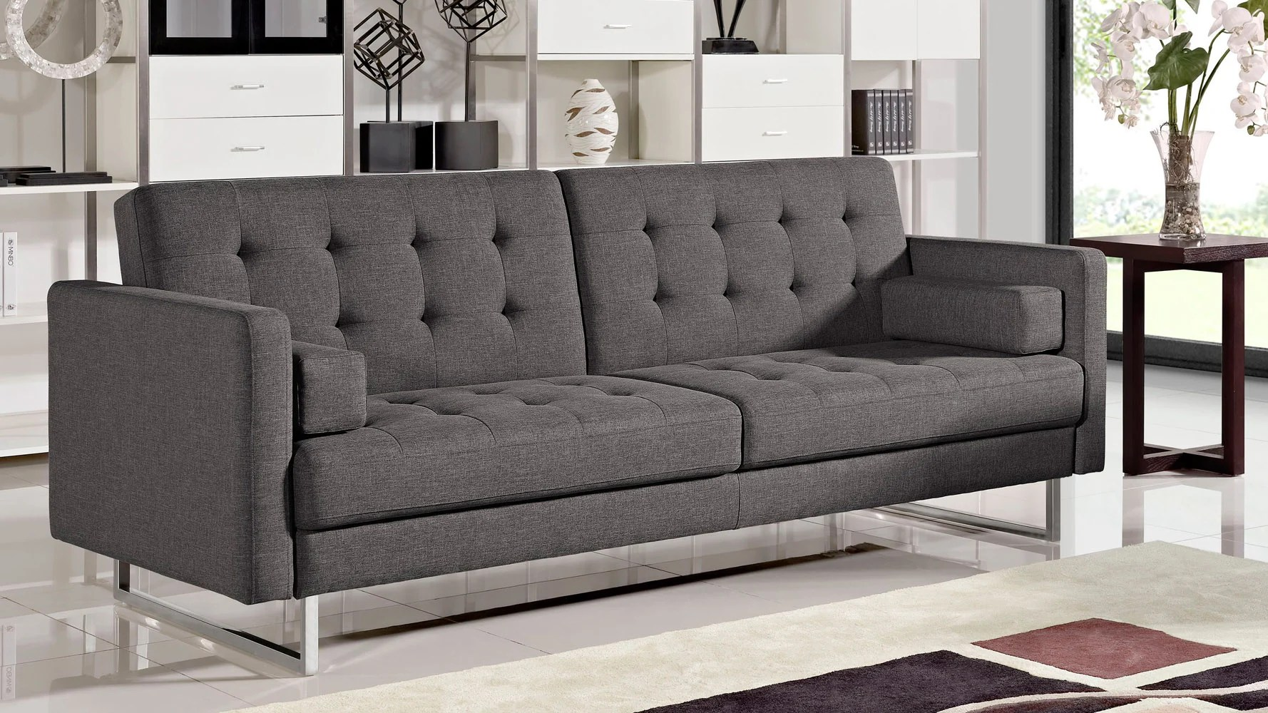 sofas with legs spain sofa bed beta fabric polished steel charcoal