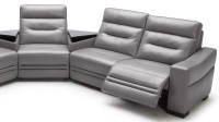 Beverly Light Grey Leather Media Center Sofa With Tables ...