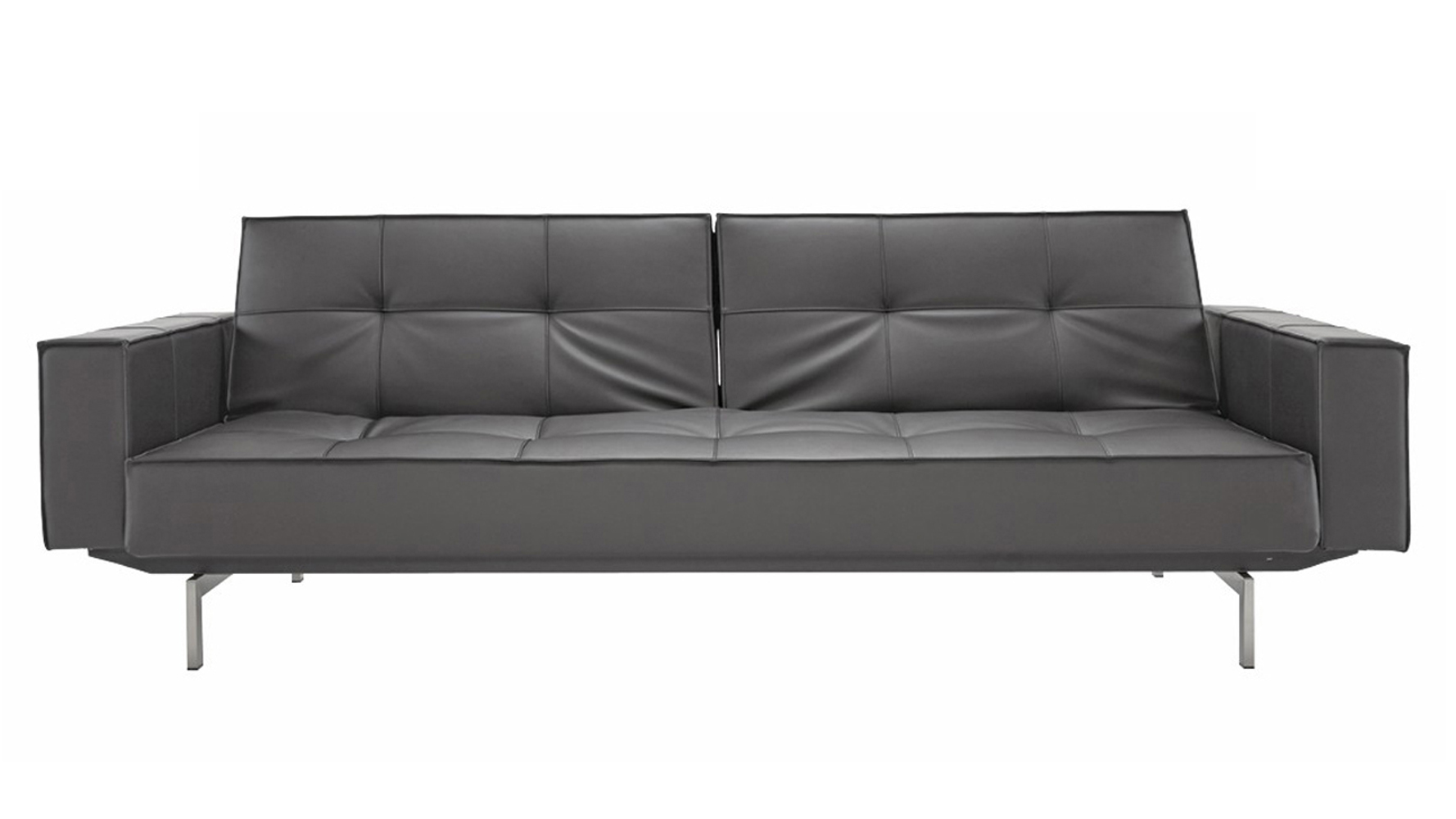sofa steel modern white leather sectional with built in light brawn stainless arms black zuri furniture