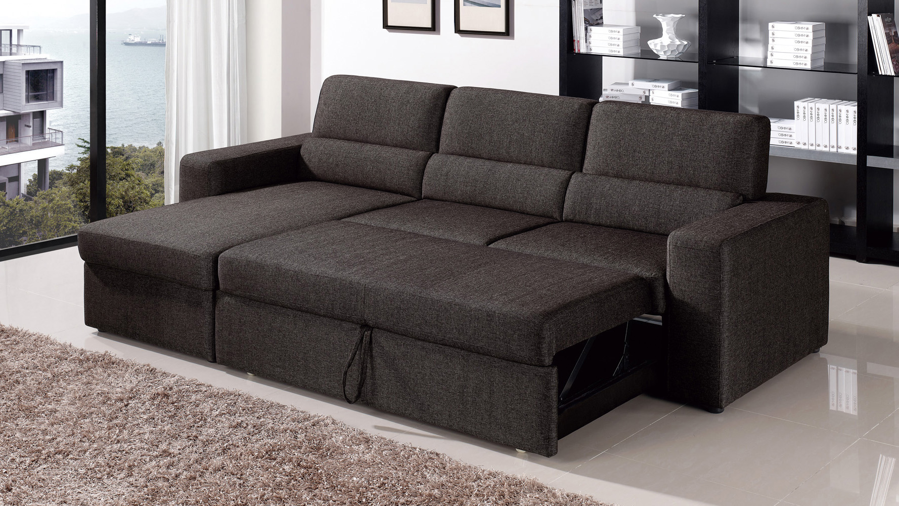 BlackBrown Clubber Sleeper Sectional Sofa  Zuri Furniture