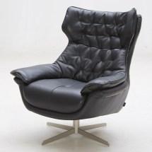 Darth Italian Leather Tufted Lounge Chair- Black Zuri