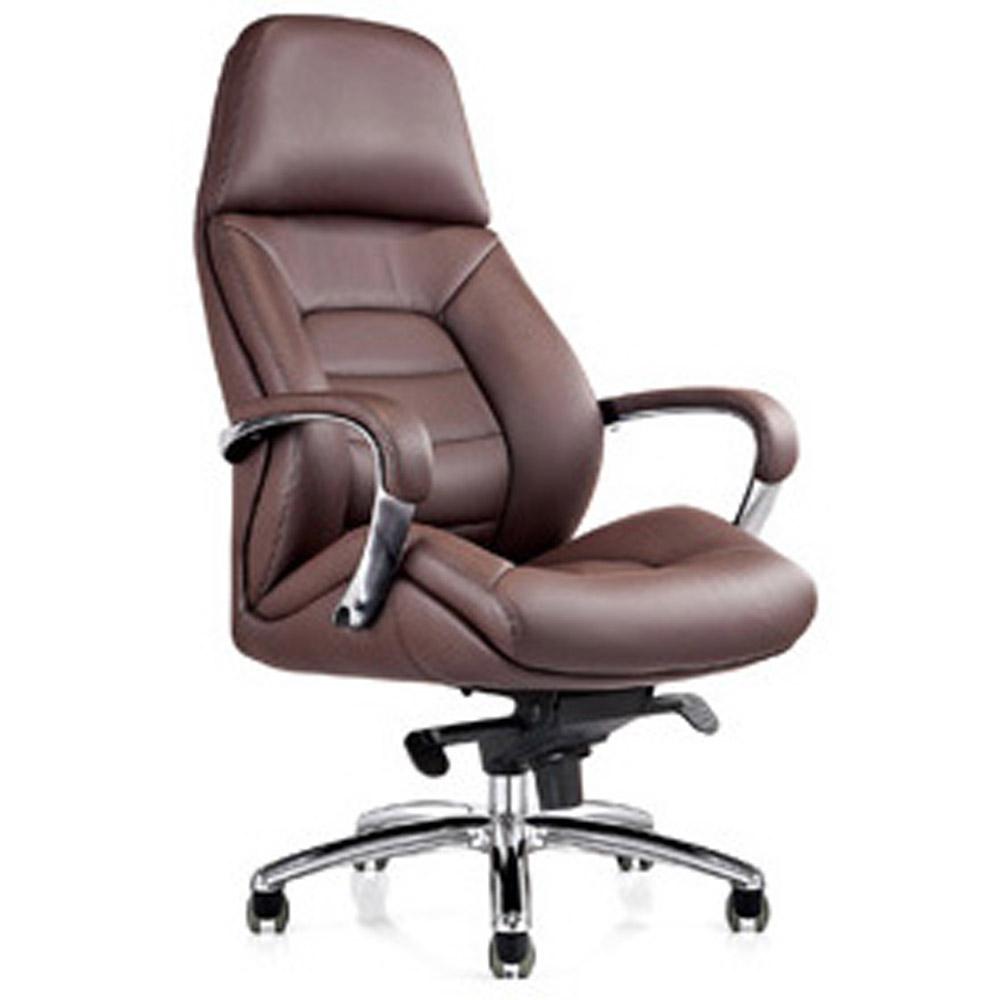 Gates Genuine Leather Aluminum Base High Back Executive Chair  Zuri Furniture