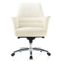 Geffen Genuine Leather Aluminum Base Low Back Executive ...
