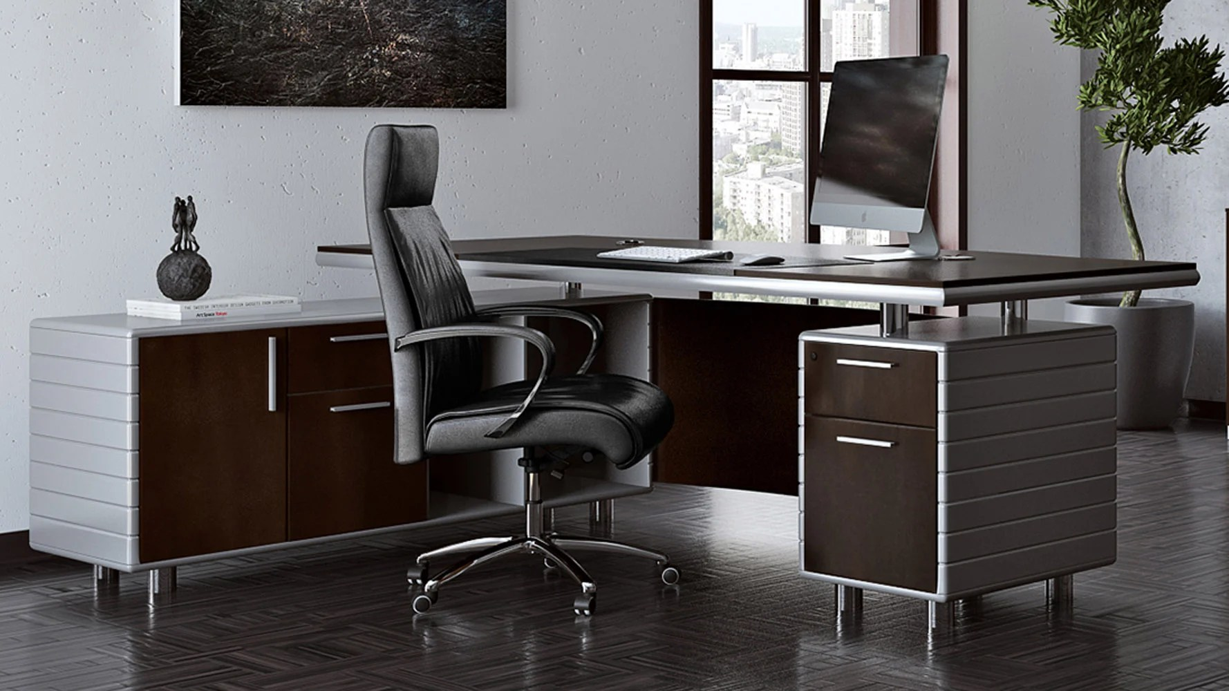 Kennedy Dark Wood Executive Desk With Return Modern