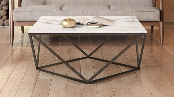 Klee Faux Marble Coffee Table Stone & Antique Brass