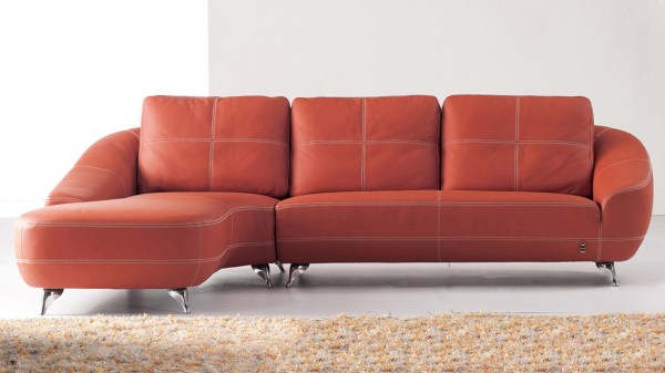Orange Leather Sectional Sofa
