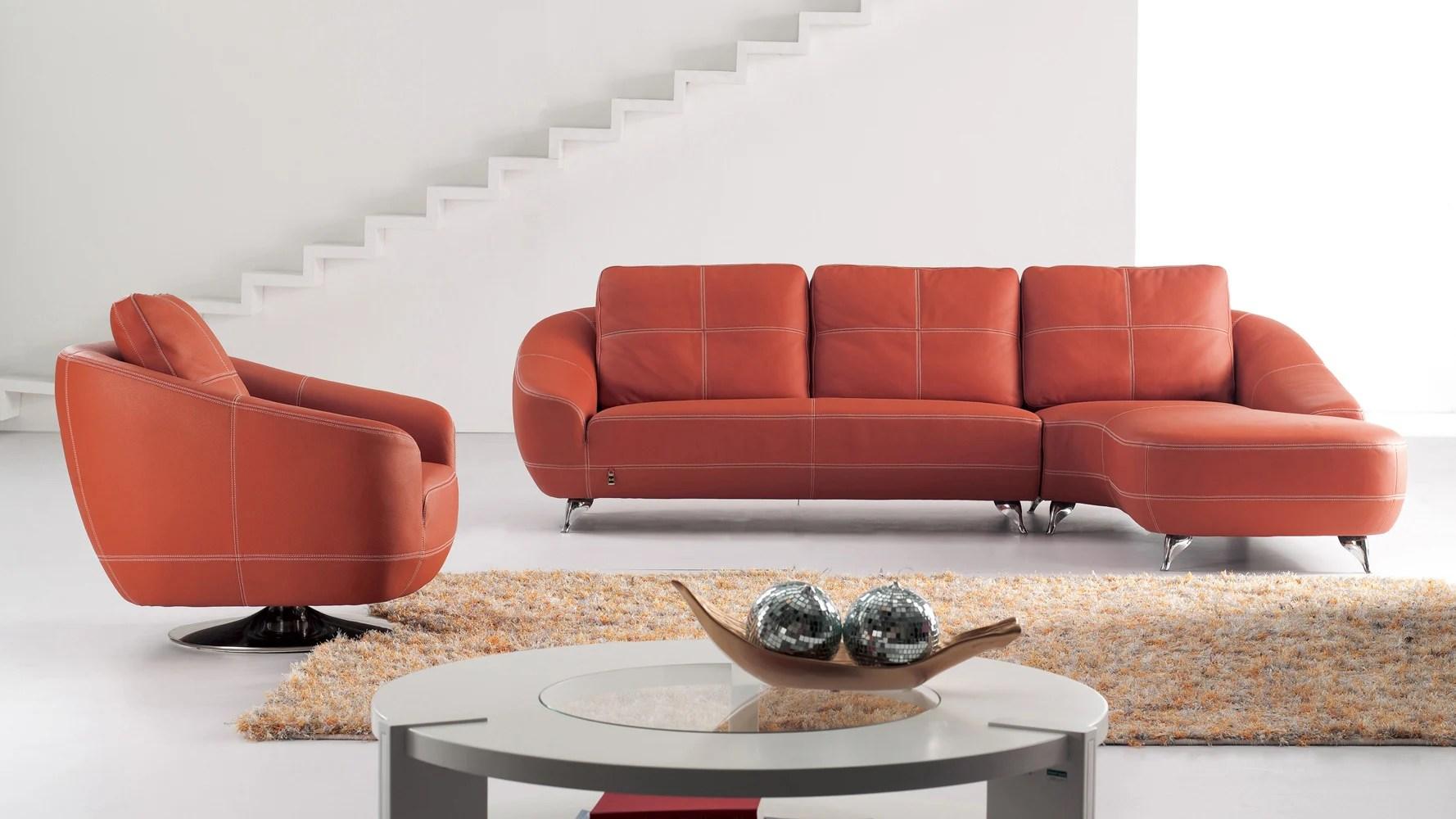 Orange Lucy Leather Sectional Sofa  Zuri Furniture