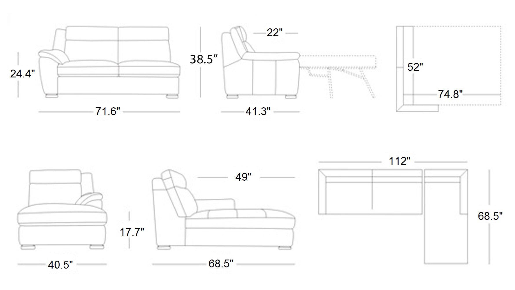 Manor Light Grey Top Grain Leather Sofa Sleeper Sectional