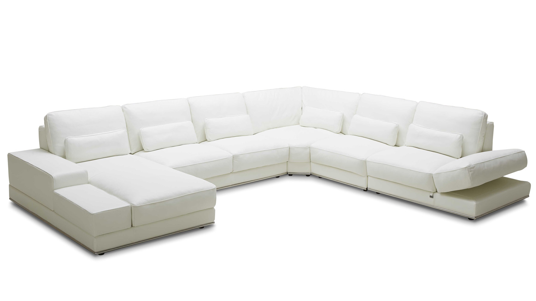 3 piece leather sectional sofa with chaise flexible cover modern white nolan zuri