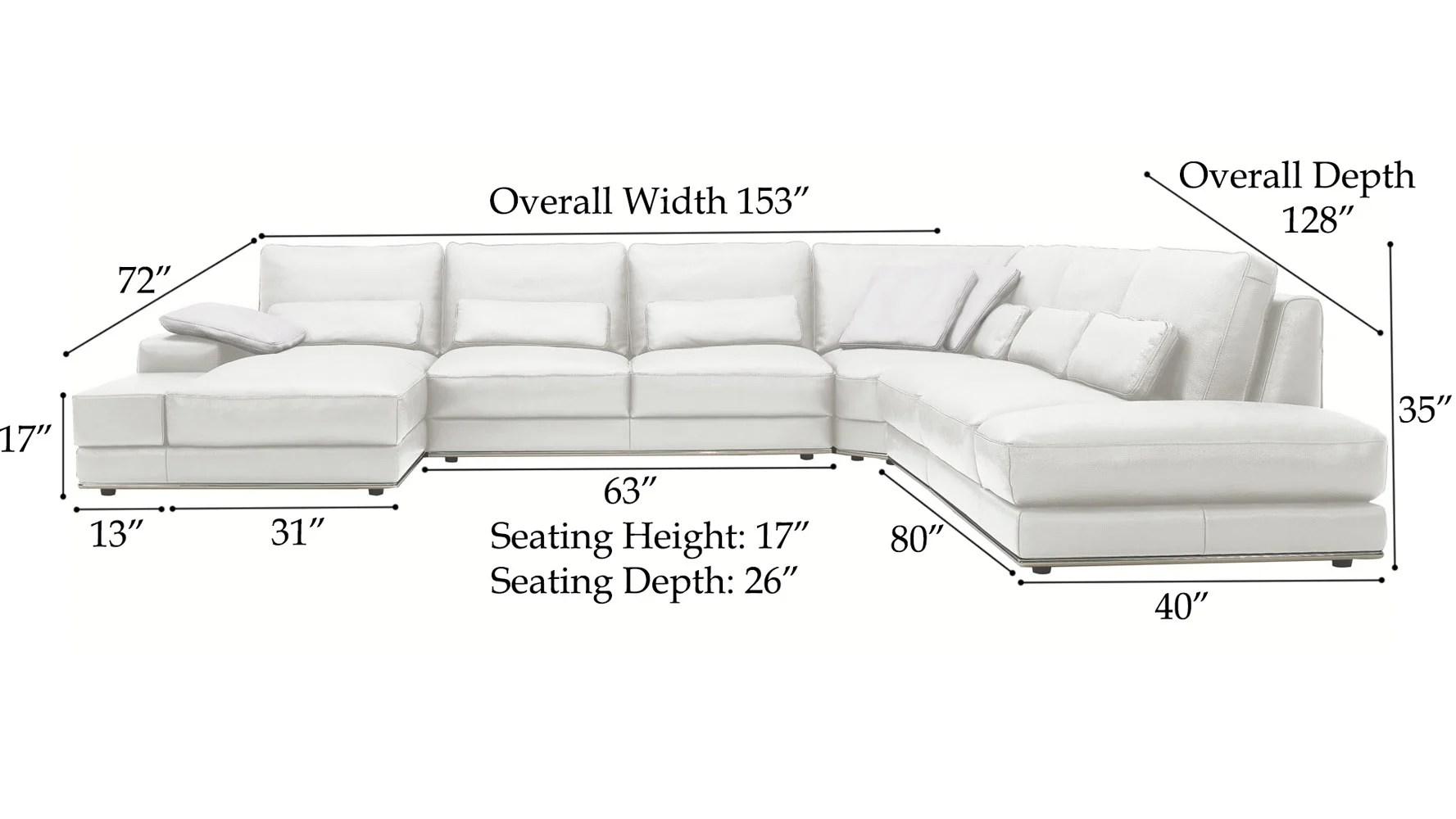 standard sofa cushion size leather repair kit modern 3 piece white nolan sectional zuri