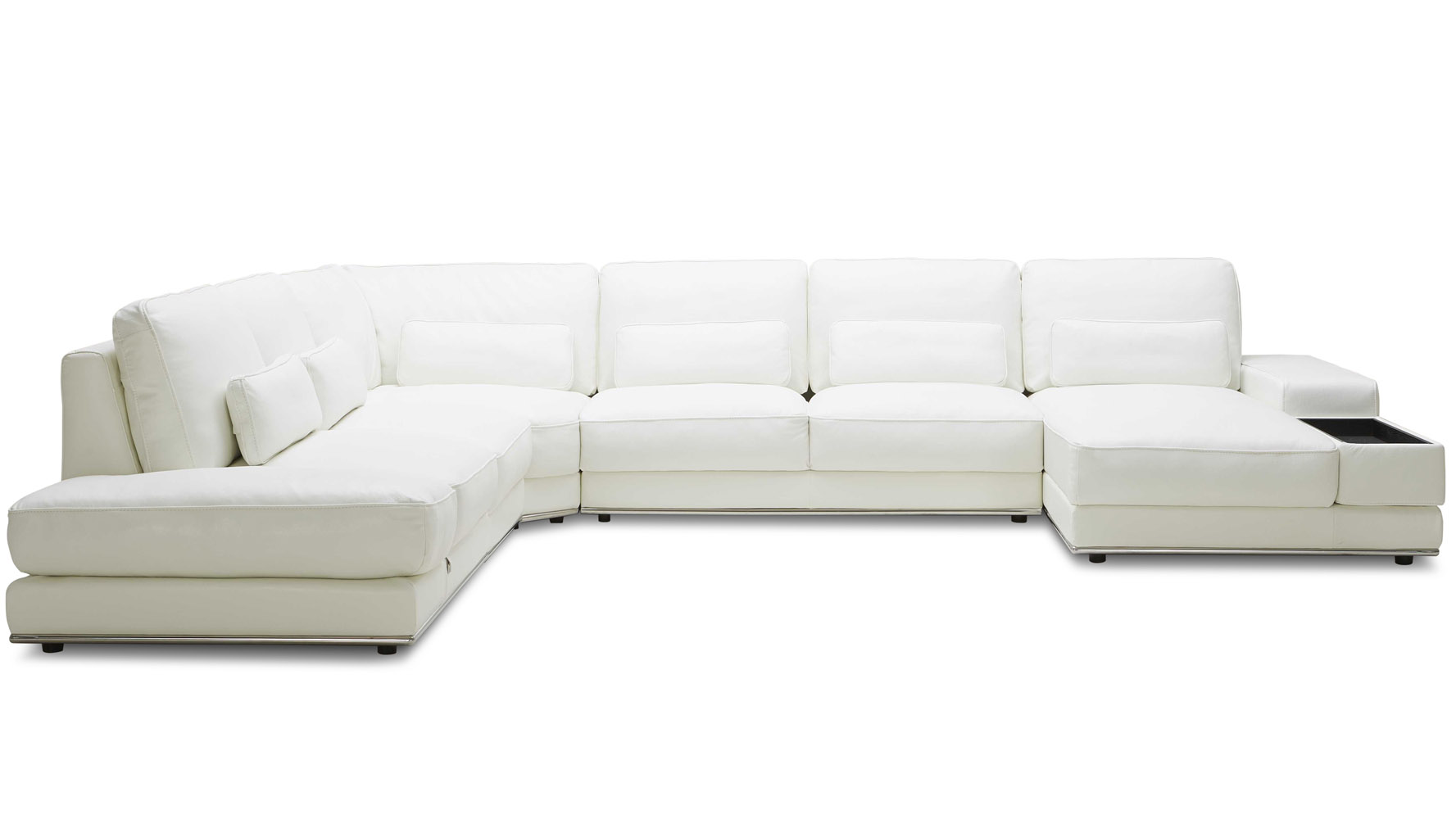 3 piece leather sectional sofa with chaise grey white pillows modern nolan zuri