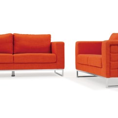Print Sofa Set Corner Sleeper Modern Orange Fabric Upholstered 2 Piece With