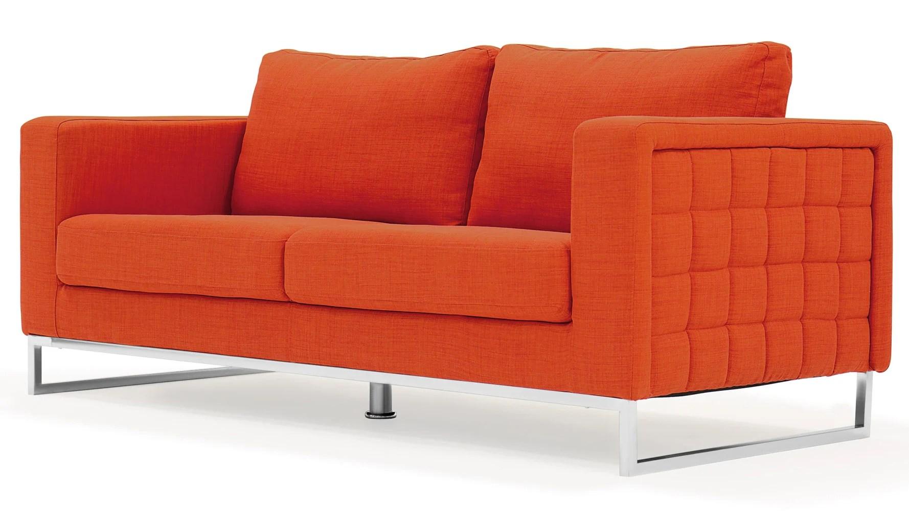 steel sofa set online chennai light grey corner uk modern orange fabric upholstered 2 piece with