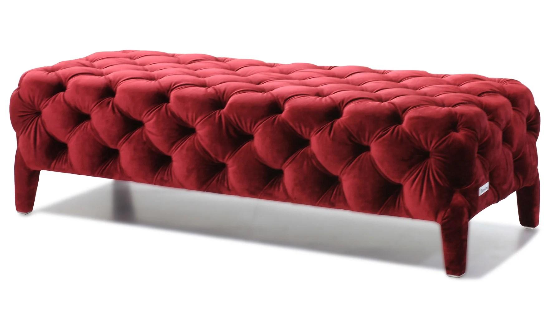 Modern Red Velour Tufted Oslo Bedroom Bench  Zuri Furniture