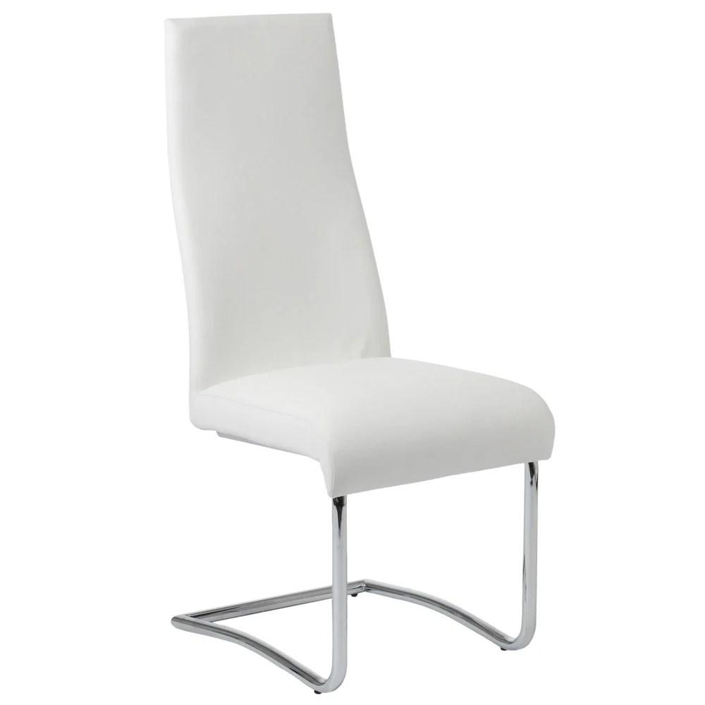high back dining chair eiffel tower mara with chrome legs set of 2 zuri furniture next