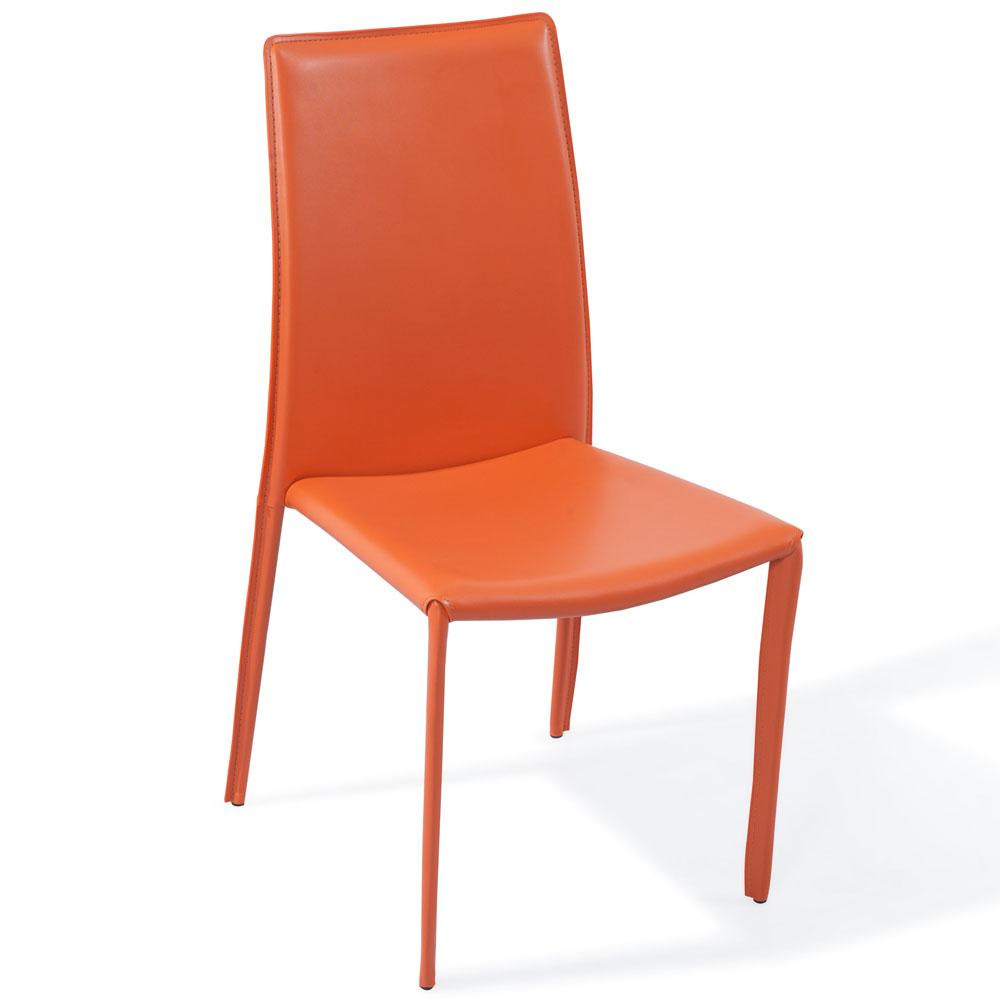 Noah Modern Orange Leatherette Dining Chair  Zuri Furniture