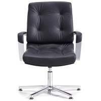 Perot Leather and Chrome Adjustable Office Chair with ...