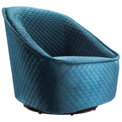 Quilted Swivel Chair Lane Leather Reclining And Ottoman Modern Philip Aquamarine Velvet Zuri Furniture Free Shipping