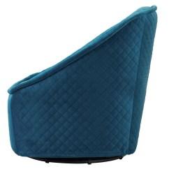 Quilted Swivel Chair Walmart Card Table With Chairs Modern Philip Aquamarine Velvet Zuri Furniture