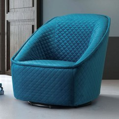 Quilted Swivel Chair Foldable Shower With Arms Modern Philip Aquamarine Velvet Zuri Furniture