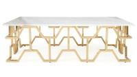 Modern Rose Gold and Marble Jewel Coffee Table   Zuri ...