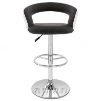 Black and White Monza Adjustable Height Swivel Armless Bar ...
