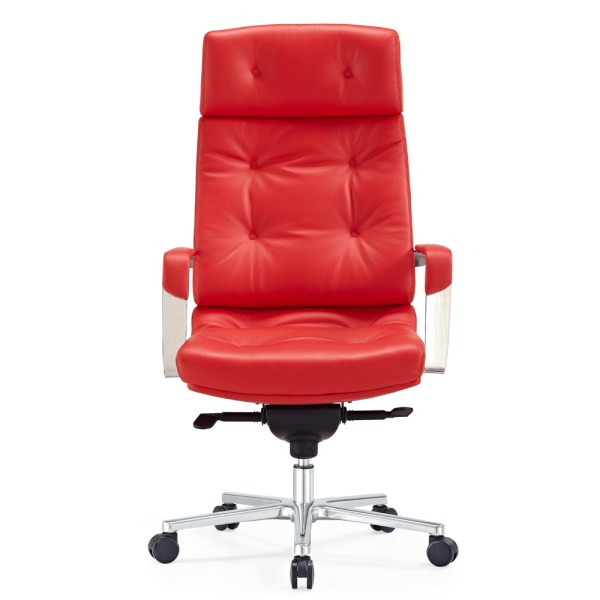 red leather executive office chair Perot Genuine Leather Aluminum Base High Back Executive