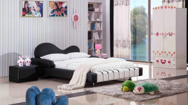 Piano Leather Upholstered Black And White Kid' Twin Bed Zuri Furniture