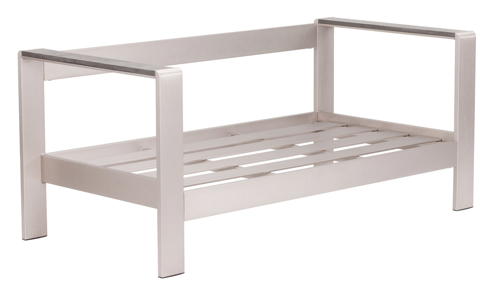 sofa frame zanotta bruce rivera modern brushed aluminum and faux wood outdoor patio